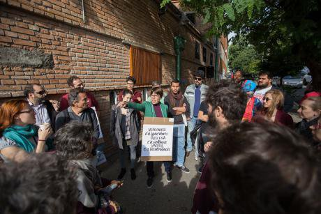 Judith Butler and supporters in Sao Paulo.