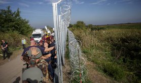 A barbed-wire fence at the Hungarian border
