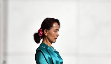 Aung San Suu Kyi is seen during a ceremonial welcome at Parliament House in Canberra, Monday, March 19, 2018