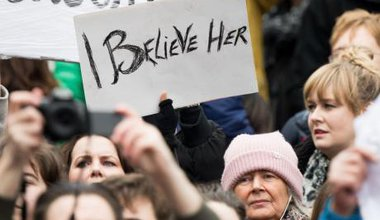 A protest in Dublin, in support of the woman at the centre of the 'Belfast rape case'.
