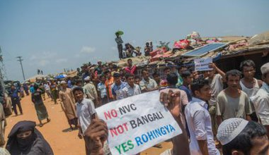 A demonstration over identity cards at a Rohingya refugee camp in Bangladesh in April, 2018