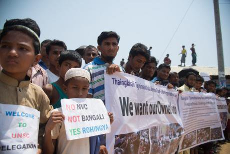 A demonstration during a UN Security visit at a Rohingya camp on 29 April, 2018