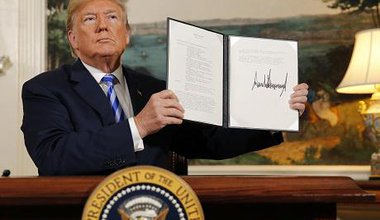 United States President Donald J. Trump makes a statement on the Joint Comprehensive Plan of Action regarding Iran