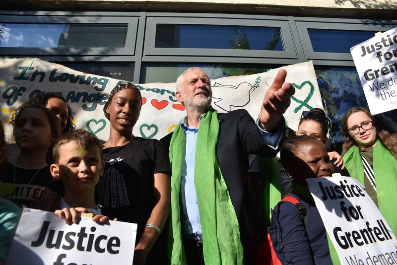 Jeremy Corbyn joined people the silent march to for the first anniversary of the Grenfell Tower fire on June 14, 2018.