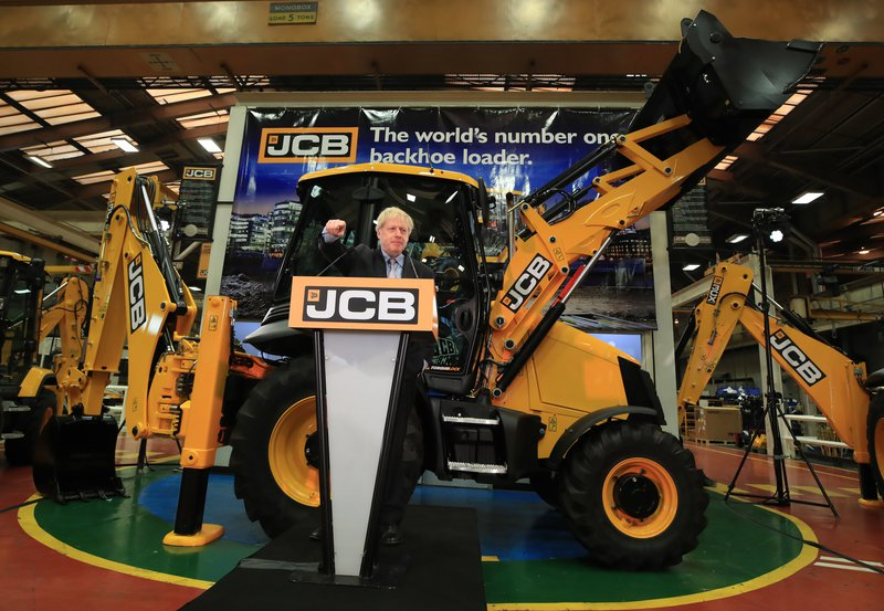 Boris Johnson speaking at the headquarters of JCB in Rocester, Staffordshire, 18 January 2019