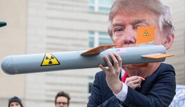 Anti Nuclear Weapons Protest in Berlin with Trump mask and model missile