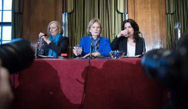 Conservative MPs Sarah Wollaston, Anna Soubry and Heidi Allen at a press conference.