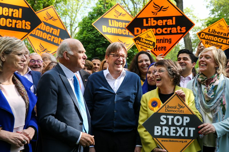 Guy Verhofstadt, EU Parlt. rep. on Brexit and the Leader of the Alliance of Liberals and Democrats for Europe is seen with Vince Cable and MEP candidates during the EU election campaign.