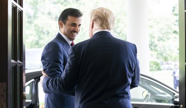 U.S President Donald Trump greets the Emir of Qatar Tamin bin Hamad Al Thani at the West Wing Lobby Entrance of the White House July 9, 2019 in Washington, DC.