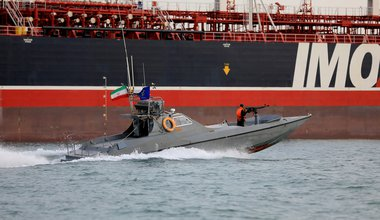 Iranian Revolutionary Guards in speedboats patrolling the British-flagged oil tanker Stena Impero, which was seized in the Strait of Hormuz on Friday by the Guard, in the Iranian port of Bandar Abbas. 24-Jul-2019