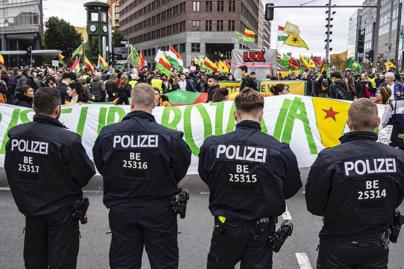 Police in Berlin confront Kurdish demonstration against the Turkish military offensive, October 19, 2019.