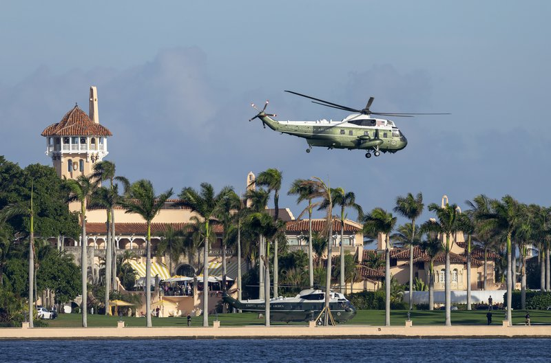The US presidential helicopter Marine One takes off outside Donald Trump's Florida mansion Mar-a-Lago
