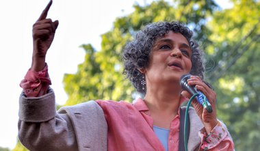 Arundhati Roy at a protest