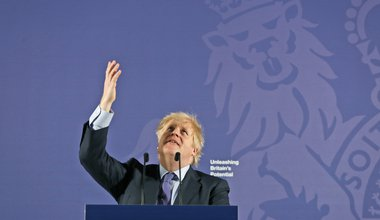 Prime Minister Boris Johnson delivers his Unleashing Britain's Potential speech in the Painted Hall, Old Royal Naval College Greenwich, London, following the UK's exit from the European Union, 3 February 2020