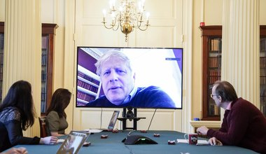 Boris Johnson chairs a morning COVID-19 update meeting remotely during his self-isolation after testing positive for COVID-19 on March 28, 2020