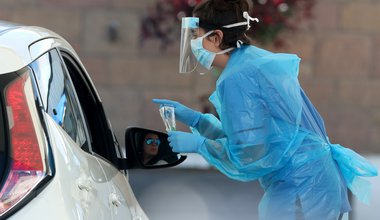 A nurse prepares to take a sample at a COVID 19 testing centre in the car park of the Bowhouse Community Centre in Grangemouth as the UK continues in lockdown to help curb the spread of the coronavirus., 24 April 2020