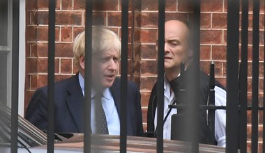 Boris Johnson with his senior aide Dominic Cummings in Downing Street, central London, 3 September 2019
