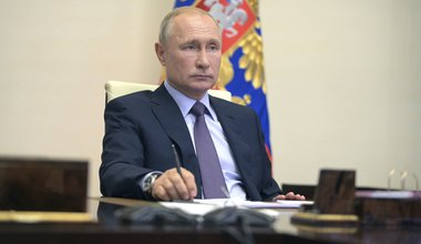 Vladimir Putin, chairs a video conference meeting of the Council for Strategic Development and National Projects from the Novo-Ogaryovo state residence July 13, 2020 outside Moscow, Russia.