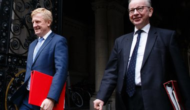 """Oliver Dowden and Michael Gove return to Downing Street from the weekly cabinet meeting at the Foreign, Commonwealth and Development Office (FCDO) in London, England, on October 13, 2020."""""""