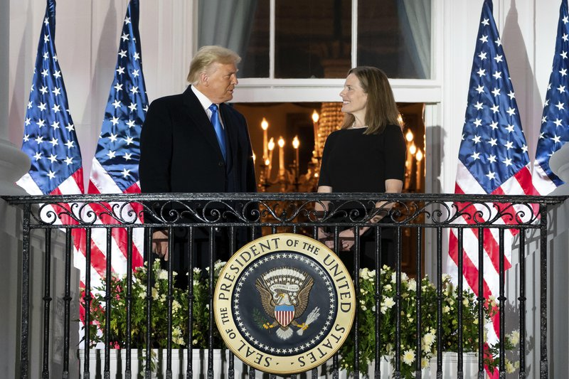 Trump and newly appointed supreme court justice Amy Coney Barrett