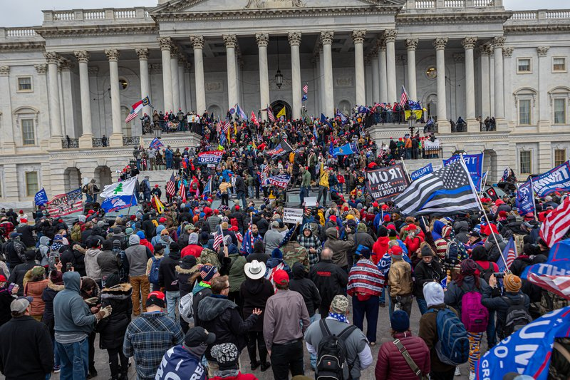 Trump's supporters breach the US Capitol in Washington DC to protest his election loss, on 6 January 2021.
