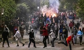 A fifth night of violent protests saw protesters return to the streets on Tuesday January 19, 2021 in Tunis, Tunisia.  Security forces responded with tear gas and water cannon.