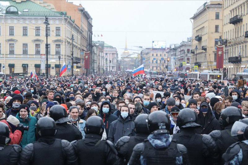 Police in St Petersburg confront a protest