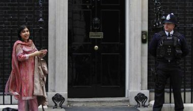 Baroness Warsi, first Muslim woman to serve in a British cabinet, outside Downing Street.