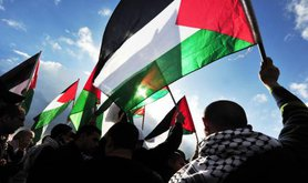 Palestinian flags being waved