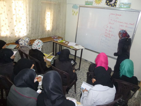 A French course in Women Now centre in Idleb countryside (2016).