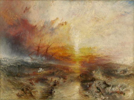 """Slavers throwing overboard the Dead and Dying - Typhoon coming on (""""The Slave Ship"""") by J. M. W. Turner 1840 (Wikimedia Commons)"""