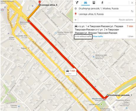 Likely route between the Garden Ring and VTB bank. In light traffic, the journey should take three minutes.