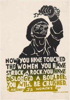 Medu poster commemorating women protesters in Pretoria in 1955. Widely distributed during the liberation struggle in the 1980s