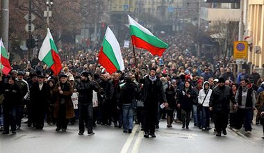A protest in Sofia on 17 February. Wikimedia Commons/Railroadwiki. Some rights reserved.