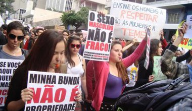 The first Slut Walk in São Paulo, Brazil, gathered over 500 people on the 4th June 2011. Ladies holding banners in protest