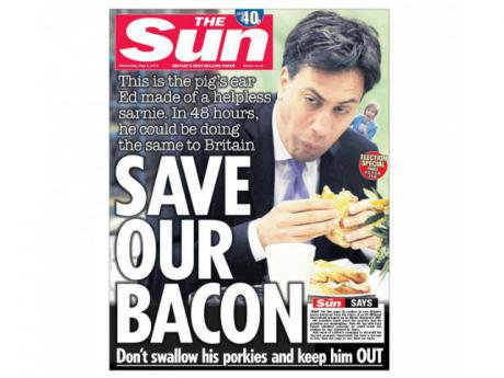 The front page of the Sun, 6 May 2015