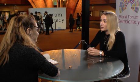 Moana Genevey speaks to Inna Shevchenko at the 2017 World Forum for Democracy.