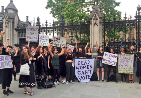 Sisters Uncut protest in June 2016 outside parliament.