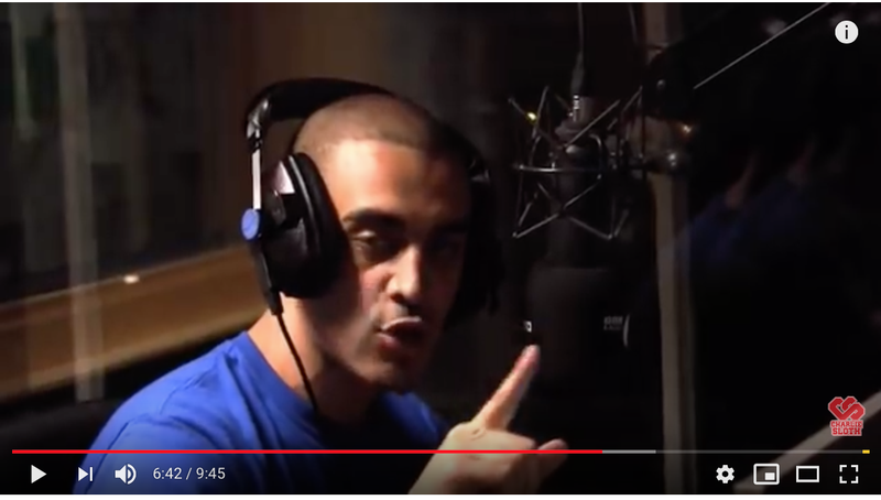 Screenshot: Lowkey's 1st Fire In The Booth, with Charlie Sloth, June, 2010.