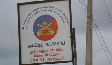 Sign post for the military police in Jaffna, in Sinhalese and English only
