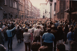 Hundreds of protesters at a peaceful Solidarity demonstration t in 1984