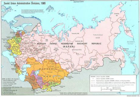 A map of the former Soviet Union in 1989.