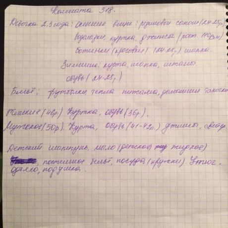 One of many lists of essential items written by a family in Samara.