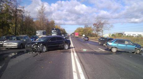 Results of a car accident. Two vehicles are totalled.
