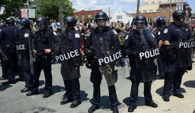 Riot police lined up at protests in Charlottesville, USA, in August 2017.