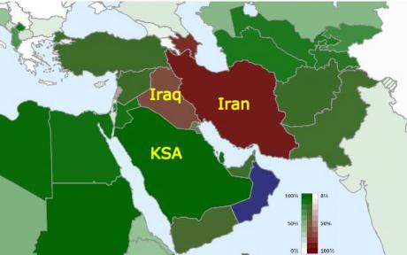 The Sunni/Shia breakdown by country. Sunni: Green. Red: Shia.