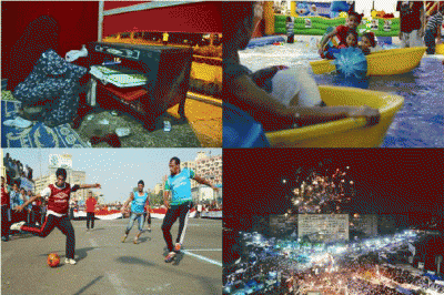 woman cooking food, children swimming, men playing football, the protests at night
