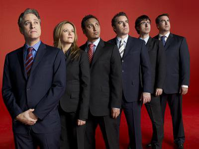 The cast of the Daily Show in 2007. Fair use.