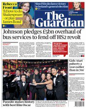 """The Guardian front page, 11 February 2020, headlined """"Johnson pledges £5bn overhaul of bus services to fend off HS2 revolt"""""""