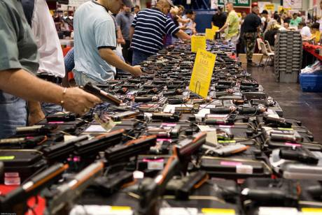 Weapons for sale at the Houston gun show. M&R Glasgow/Flickr. Some rights reserved.